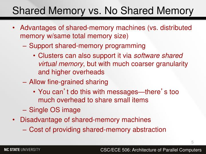 Shared Memory vs. No Shared Memory