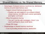 shared memory vs no shared memory