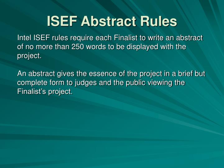 ISEF Abstract Rules