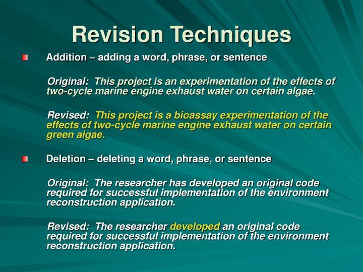 Revision Techniques