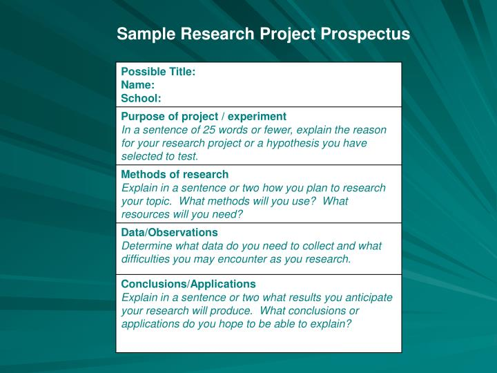 Sample Research Project Prospectus