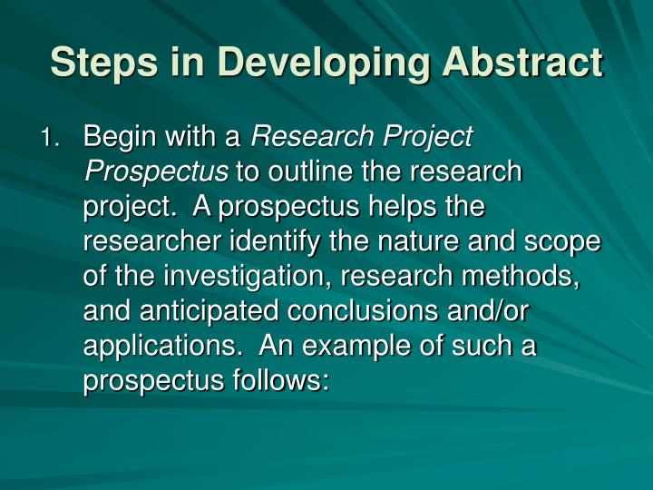 Steps in Developing Abstract
