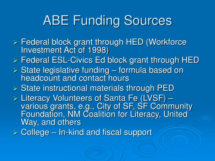 ABE Funding Sources