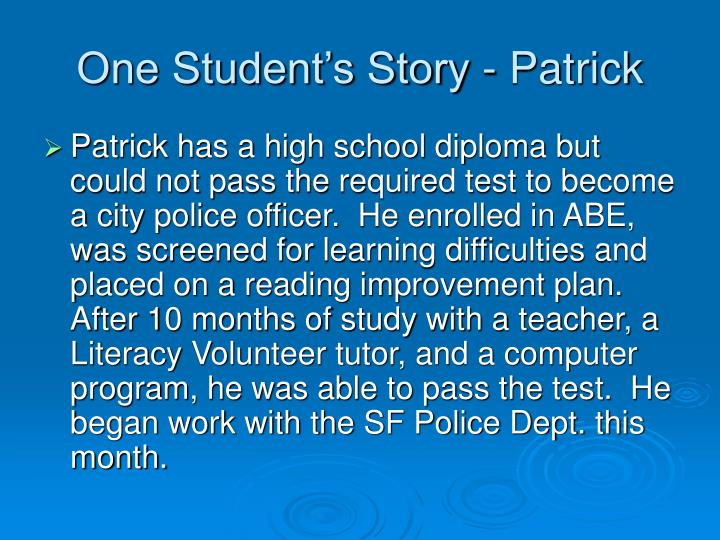 One Student's Story - Patrick