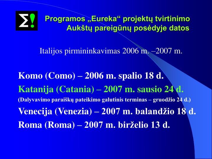 """Programos """"Eureka"""" projektų tvirtinimo"""