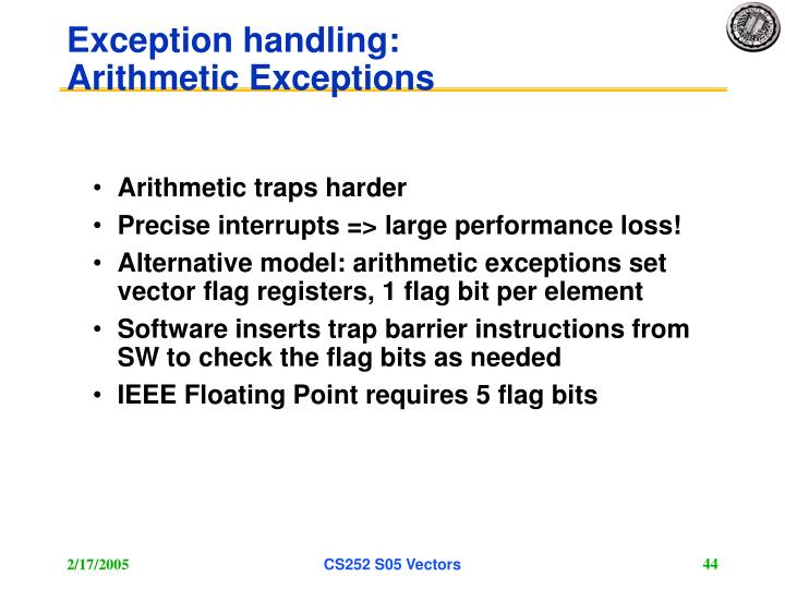 Exception handling: