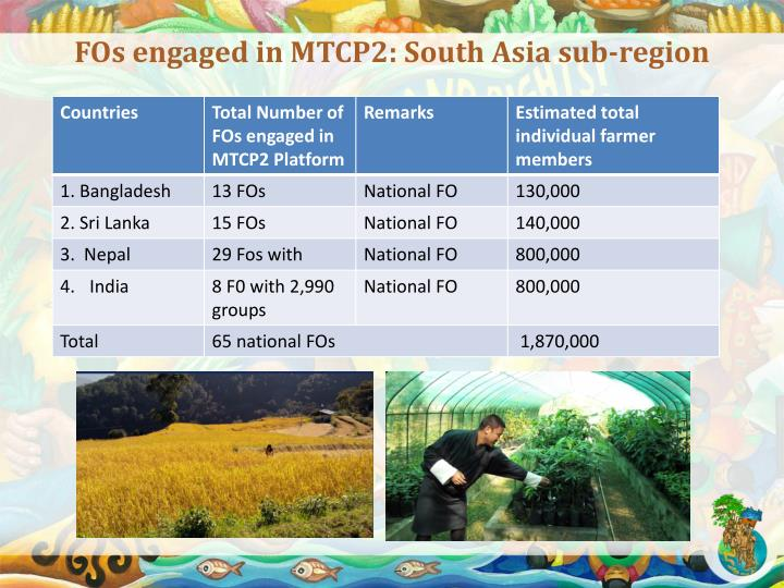 FOs engaged in MTCP2: South Asia sub-region