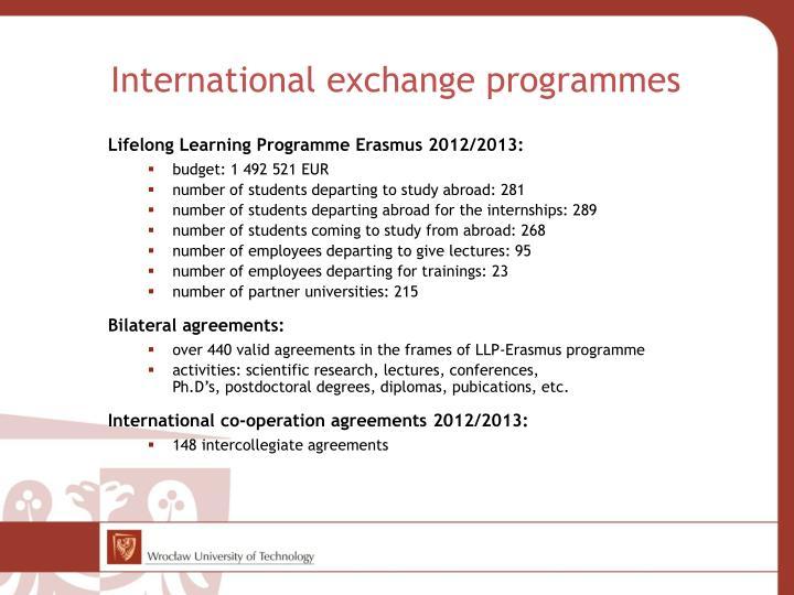 International exchange programmes