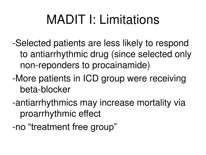 MADIT I: Limitations