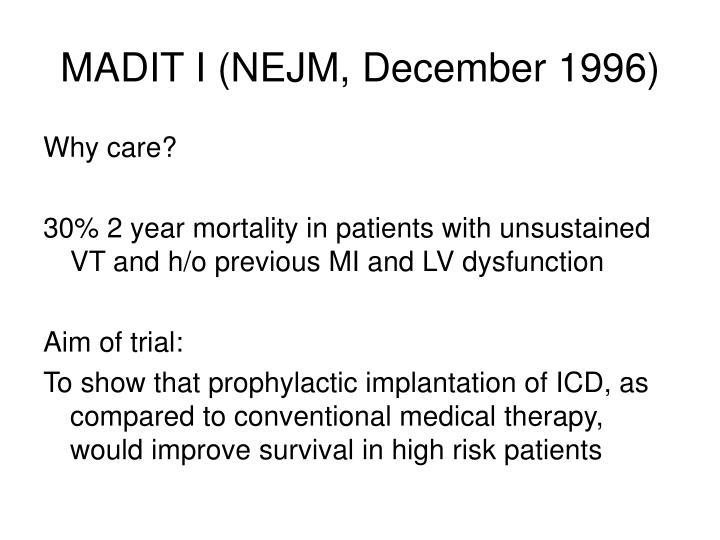 MADIT I (NEJM, December 1996)
