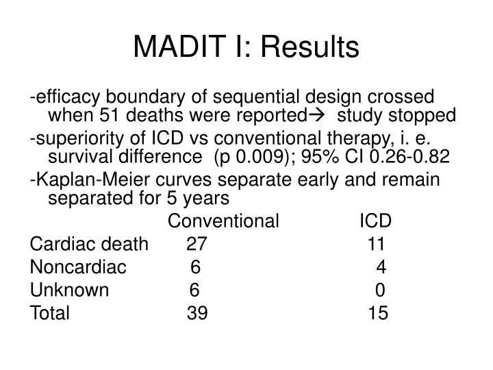 MADIT I: Results