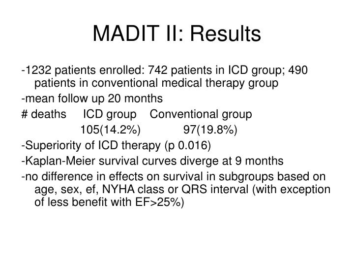 MADIT II: Results