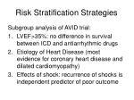 risk stratification strategies