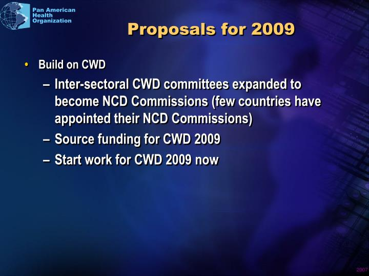Proposals for 2009