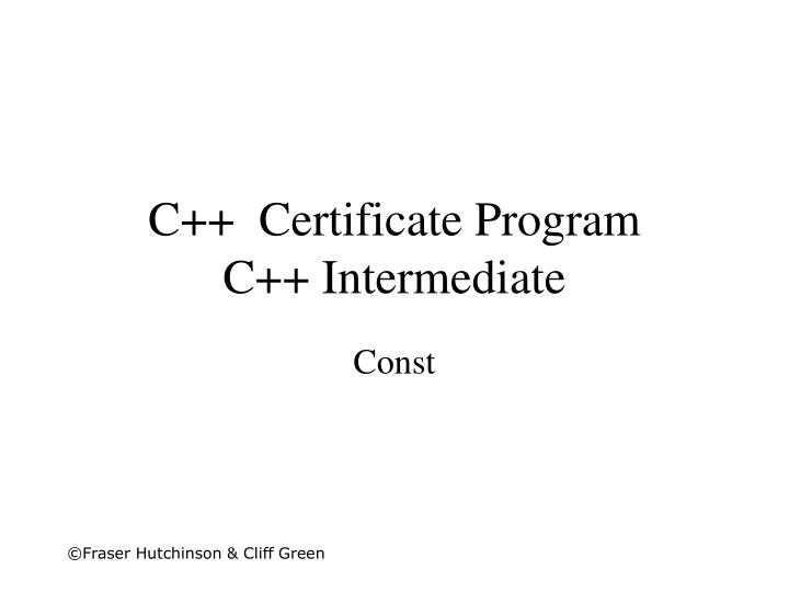 C certificate program c intermediate