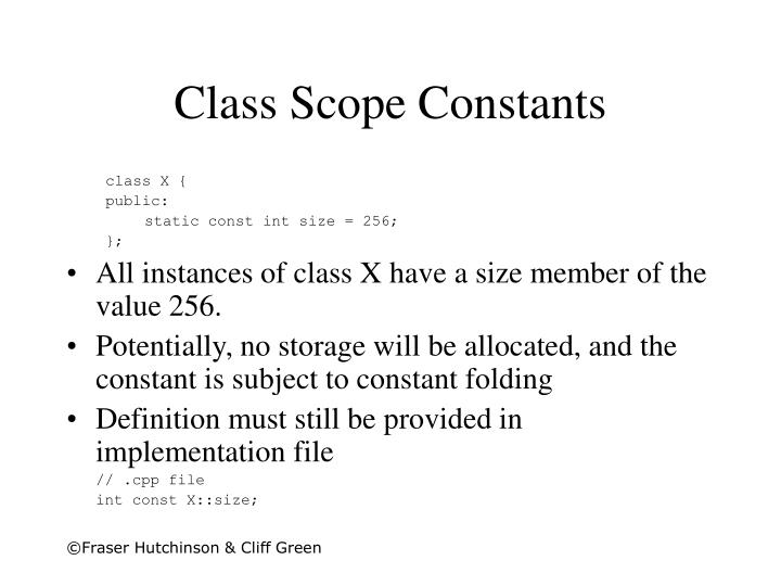 Class Scope Constants