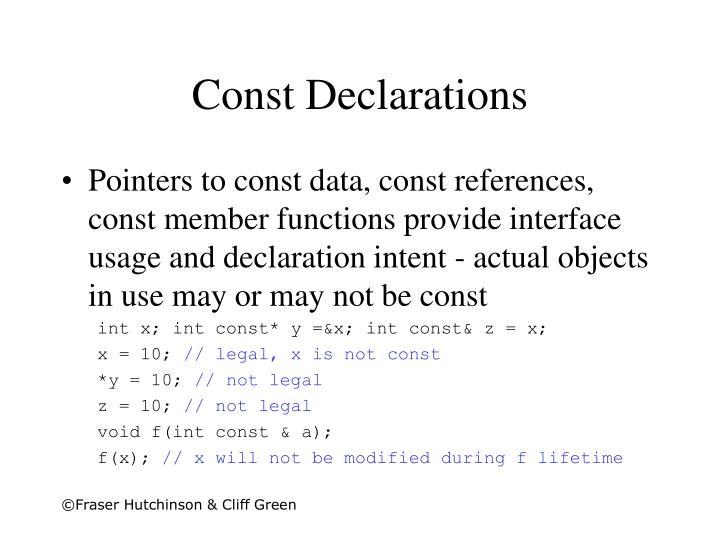Const Declarations
