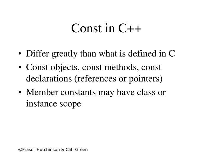 Const in C++