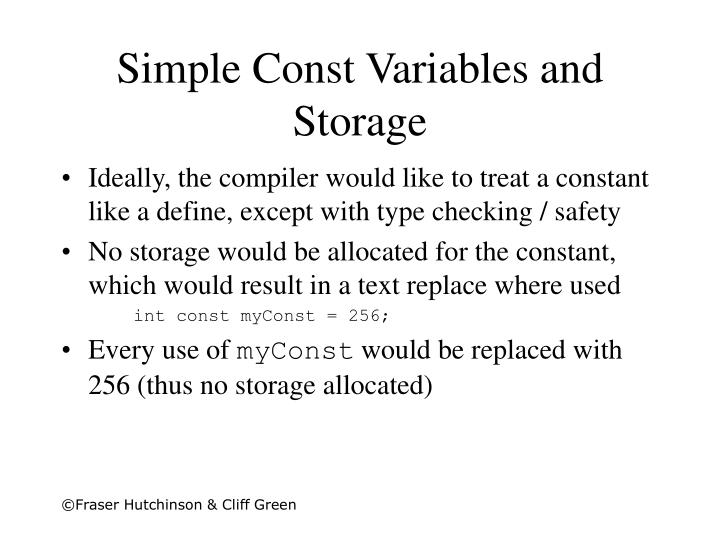 Simple Const Variables and Storage