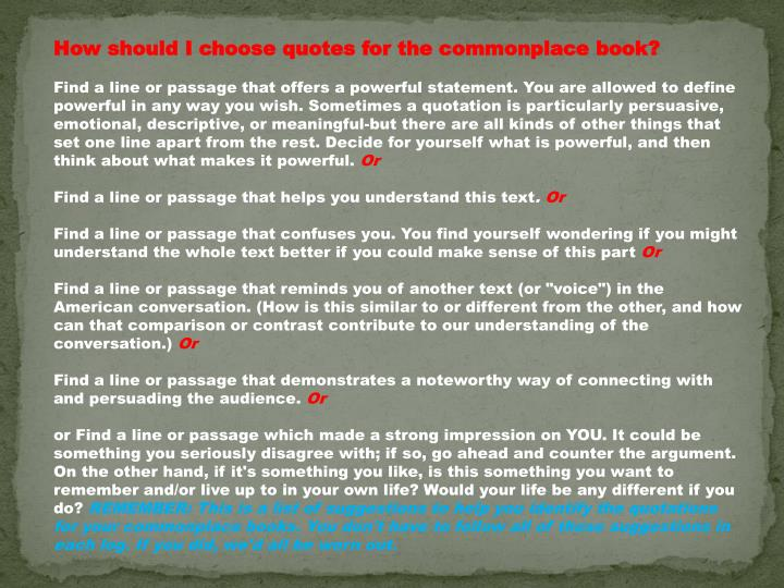 How should I choose quotes for the commonplace book?