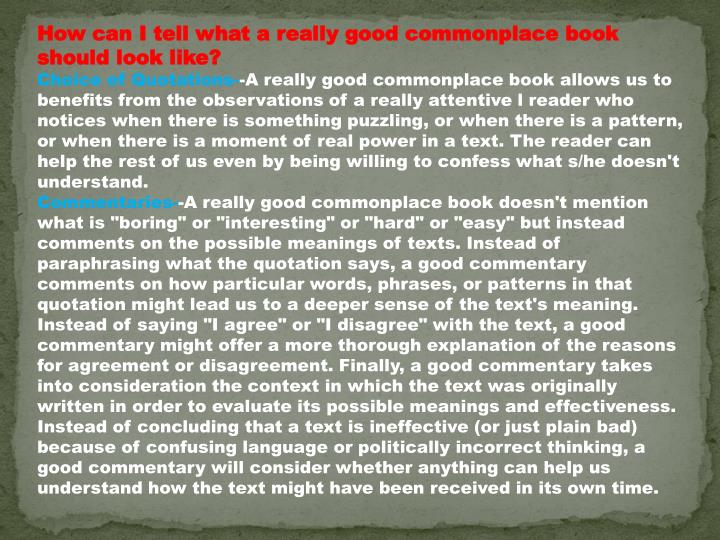 How can I tell what a really good commonplace book should look like?
