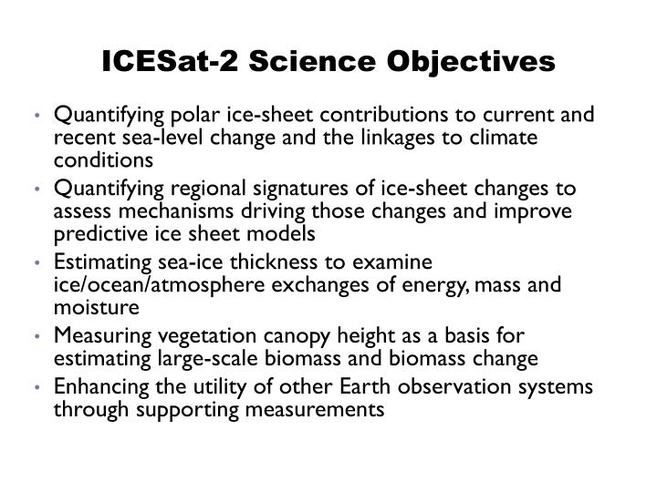 ICESat-2 Science Objectives