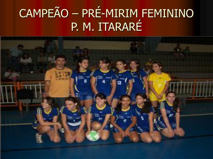 CAMPEÃO – PRÉ-MIRIM FEMININO