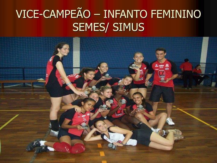 VICE-CAMPEÃO – INFANTO FEMININO