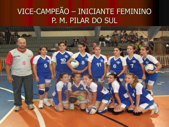 VICE-CAMPEÃO – INICIANTE FEMININO