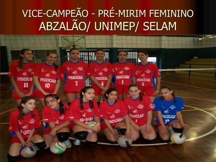 VICE-CAMPEÃO - PRÉ-MIRIM FEMININO
