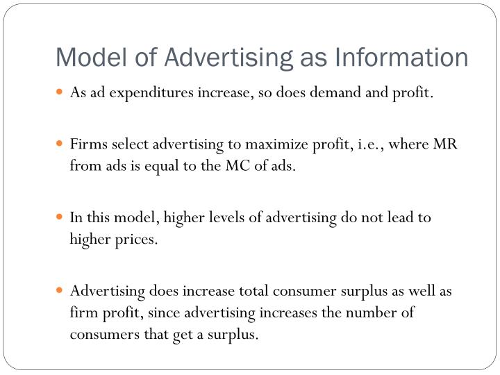 Model of Advertising as Information