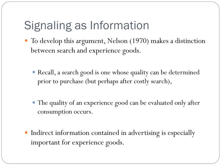 Signaling as Information