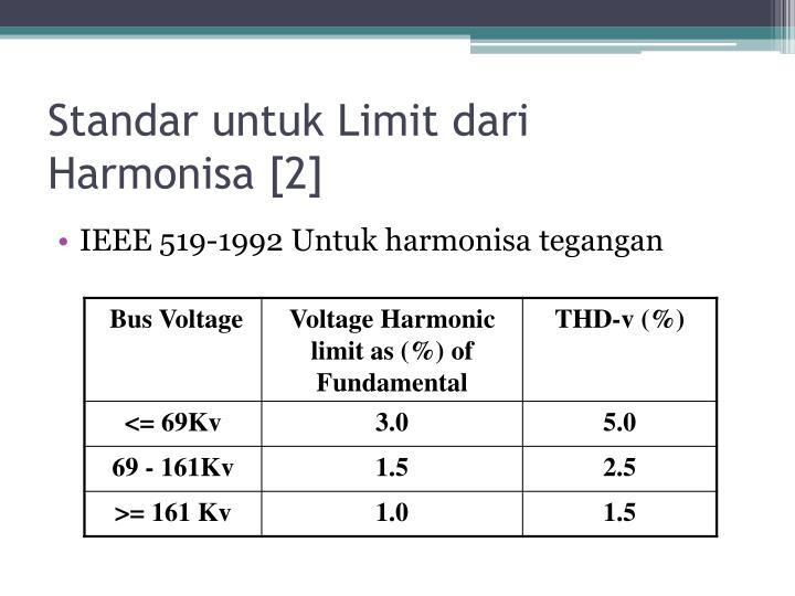 Standar untuk Limit dari Harmonisa [2]