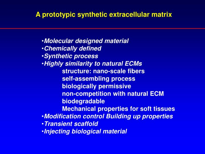 A prototypic synthetic extracellular matrix