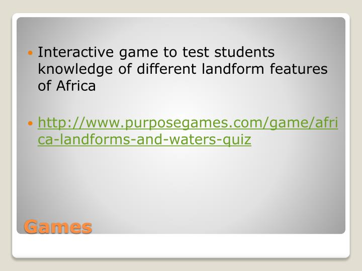 Interactive game to test students knowledge of different landform features of Africa