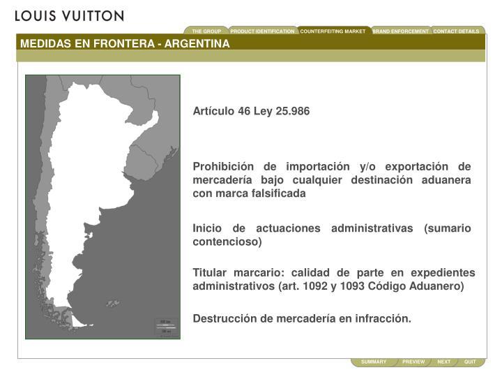 MEDIDAS EN FRONTERA - ARGENTINA