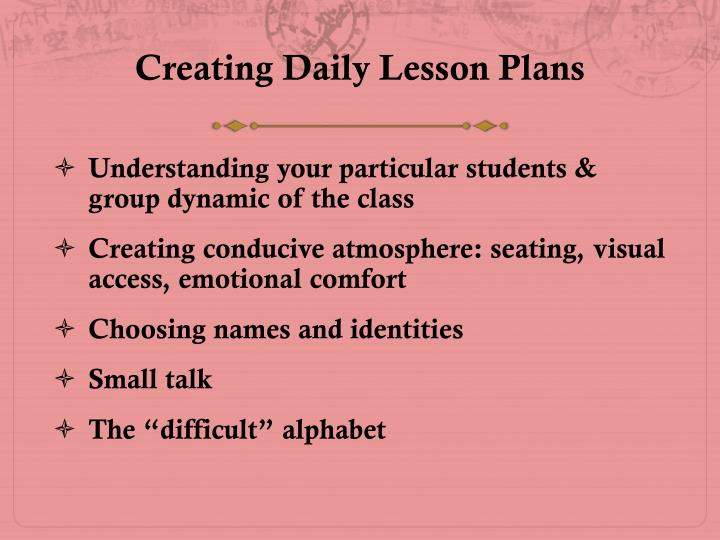 Creating Daily Lesson Plans