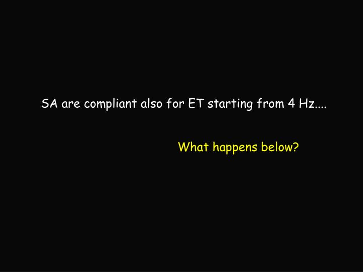 SA are compliant also for ET starting from 4 Hz....