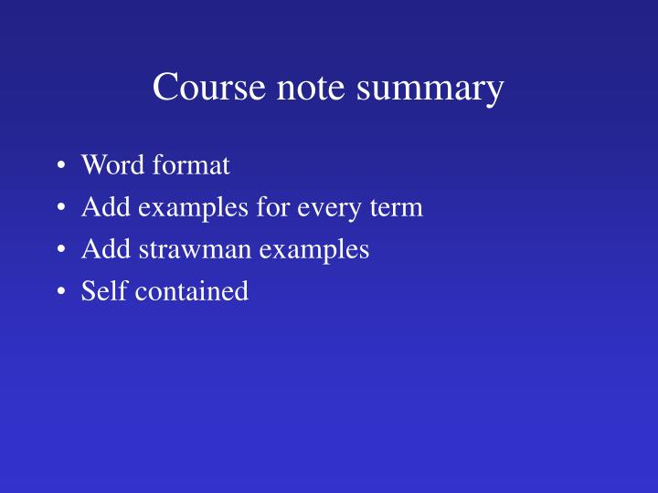 Course note summary