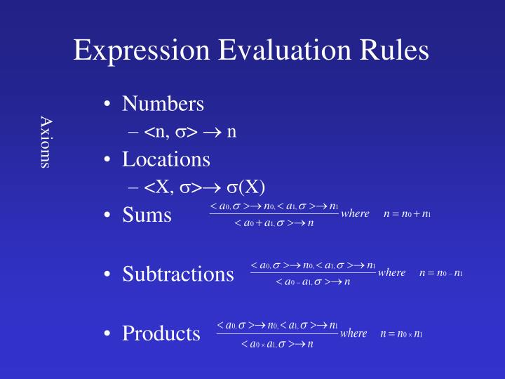 Expression Evaluation Rules