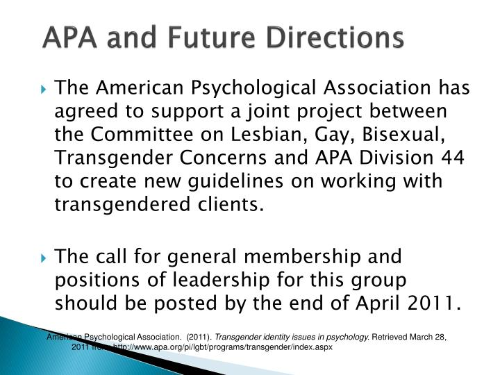 APA and Future Directions