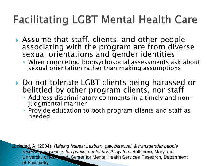 Facilitating LGBT Mental Health Care