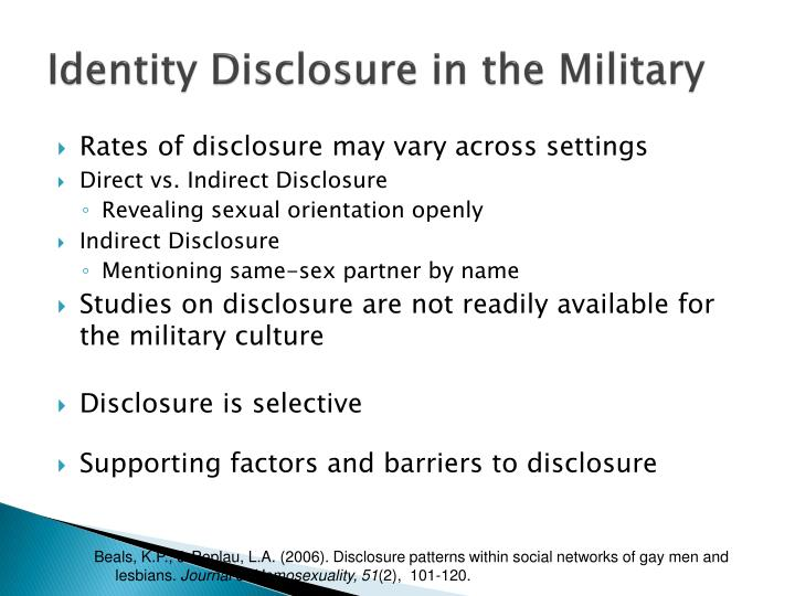 Identity Disclosure in the Military