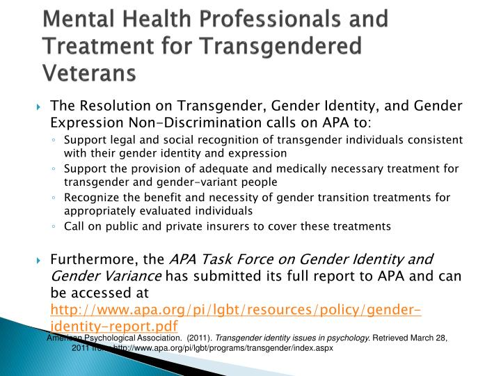 Mental Health Professionals and Treatment for Transgendered Veterans