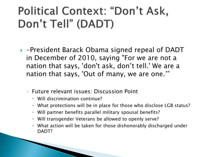 "Political Context: ""Don't Ask, Don't Tell"" (DADT)"