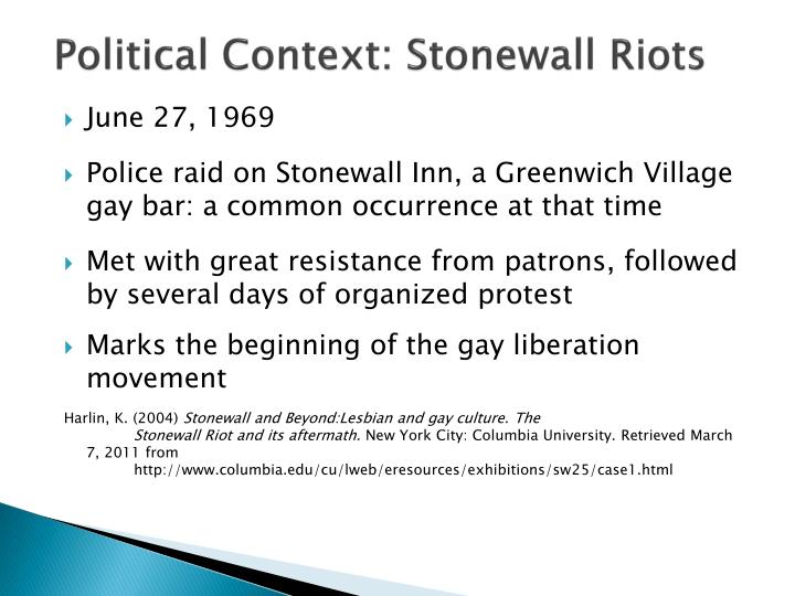 Political Context: Stonewall Riots