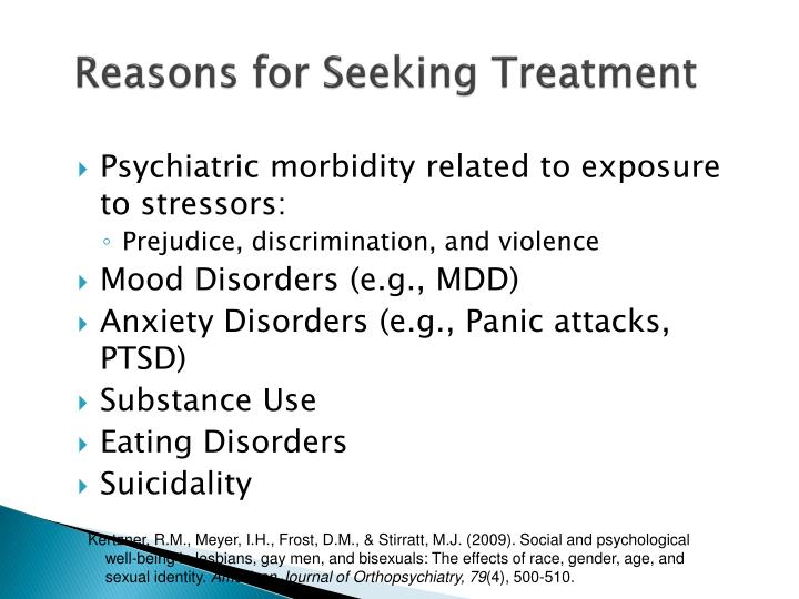 Reasons for Seeking Treatment