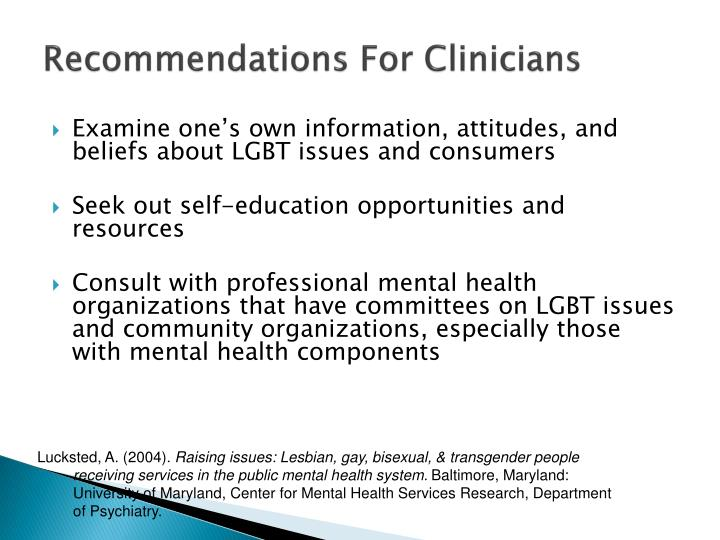 Recommendations For Clinicians