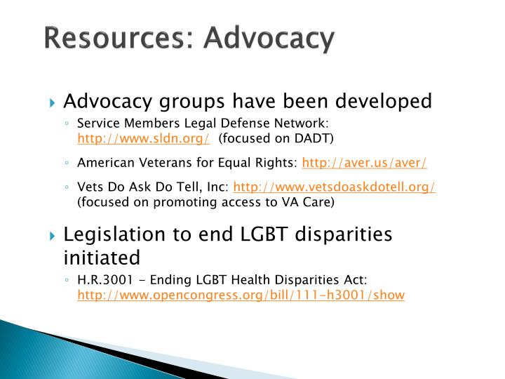 Resources: Advocacy