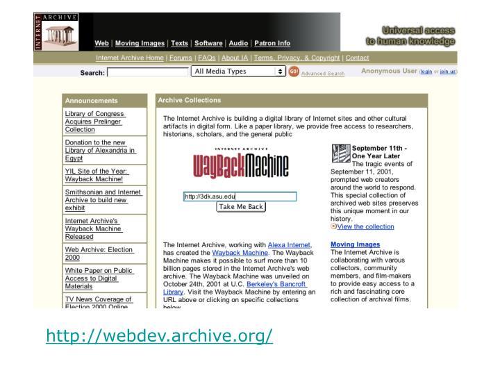 http://webdev.archive.org/